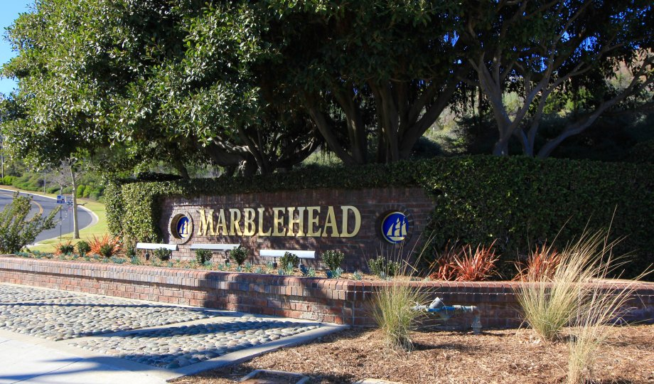 Community marquee at entrance of Marblehead in San Clemente