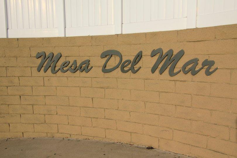 Marquee entrance to community of Mesa Del Mar Costa Mesa