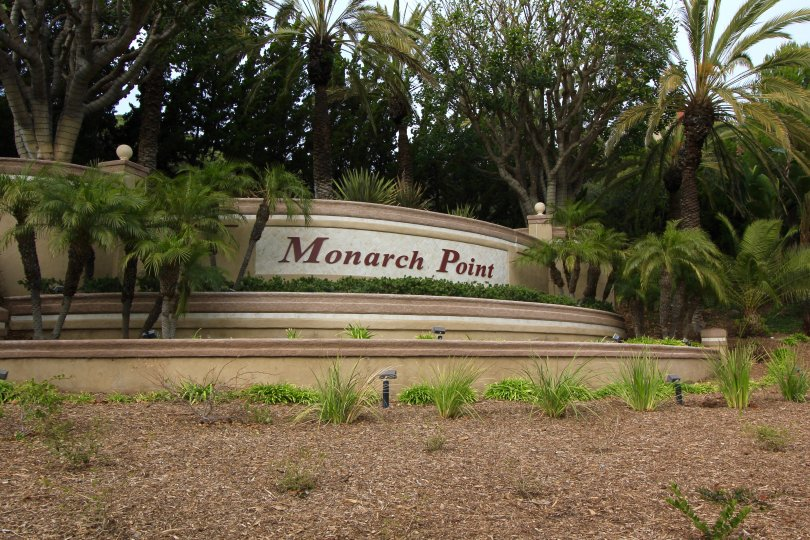 Front entrance and marquee to Monarch Point, Laguna Niguel CA