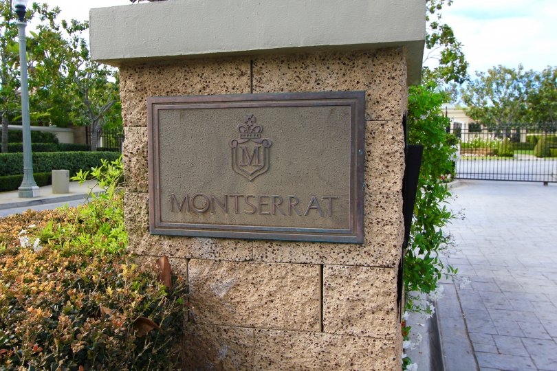 Front entrance and sign to Montserrat Newport Coast