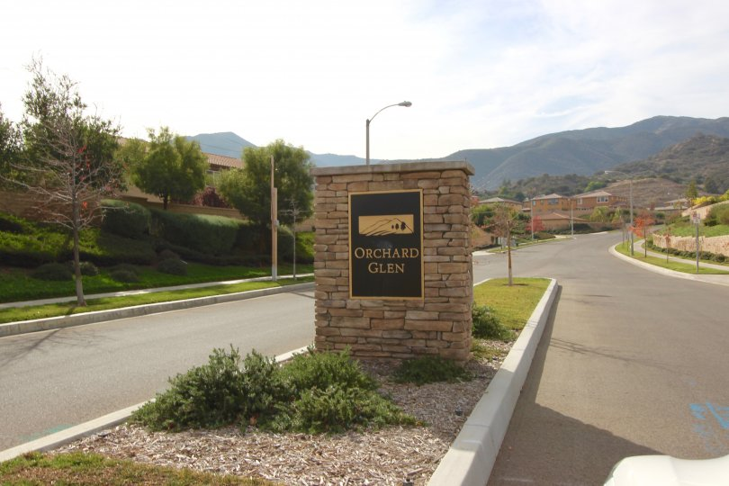 marquee and entrance sign to Orchard Glen Corona CA
