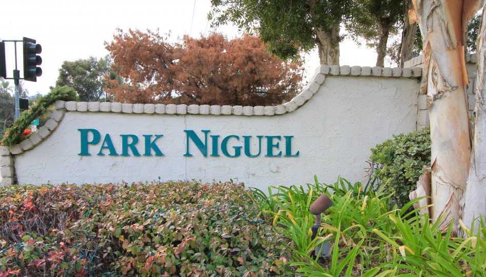Marquee and entrance sign to Park Niguel, Laguna Niguel CA