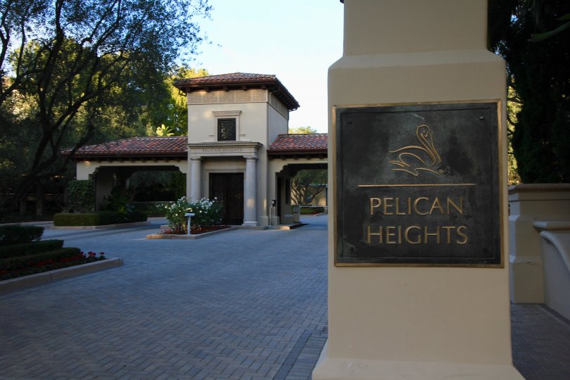 Marquee and gates at entrance to Pelican Heights Newport Coast CA