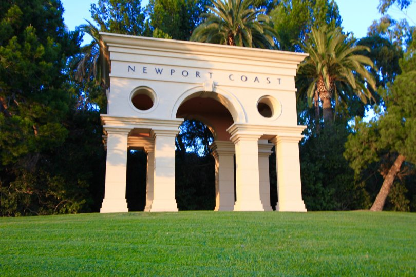 Newport Coast entrance sign and marquee in Pelican Point Newport Coast