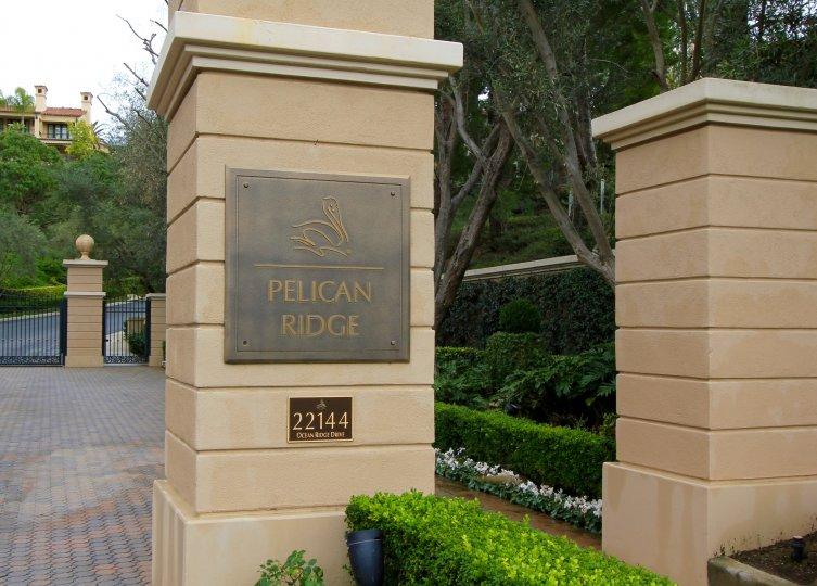Sign at marquee to gates at Pelican Ridge Newport Coast CA