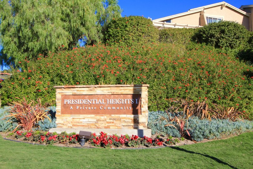 Presidential Heights community marquee in San Clemente Ca