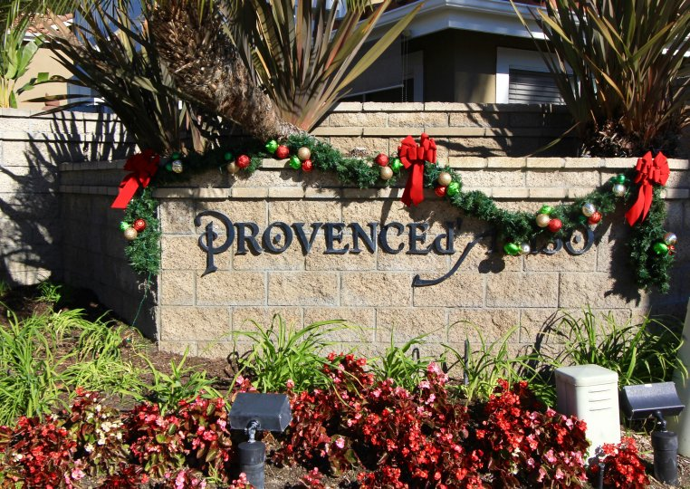 Well lit sign at the entrance of Provence D' Aliso in Aliso Viego