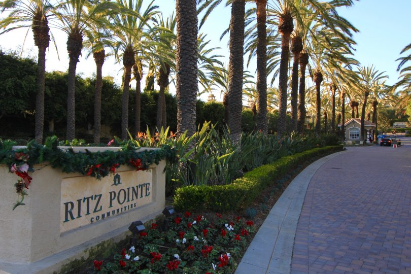 The impressive entrance to the Ritz Pointe neighborhood