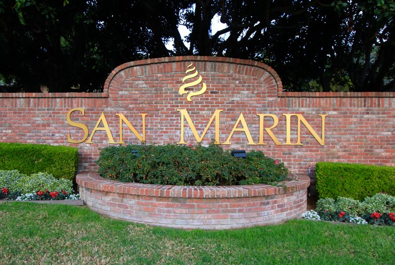 Marquee and entrance sign to San Marin, Laguna Niguel CA