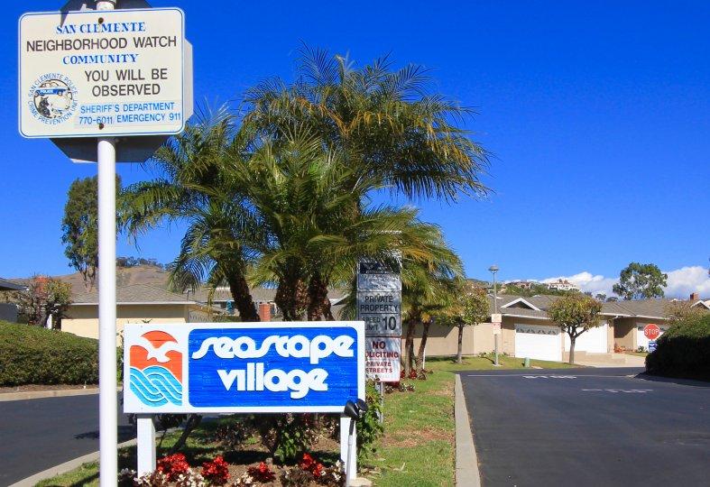 Entrance to Seascape Village neighborhood in San Clemente