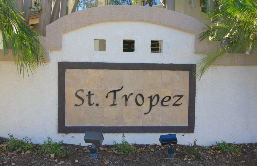Well lit sign at the entrance of St Tropez