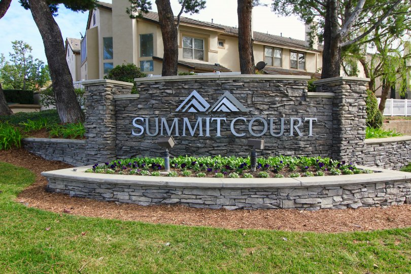 Entrance and marquee sign to Summit Court Anaheim Hills CA