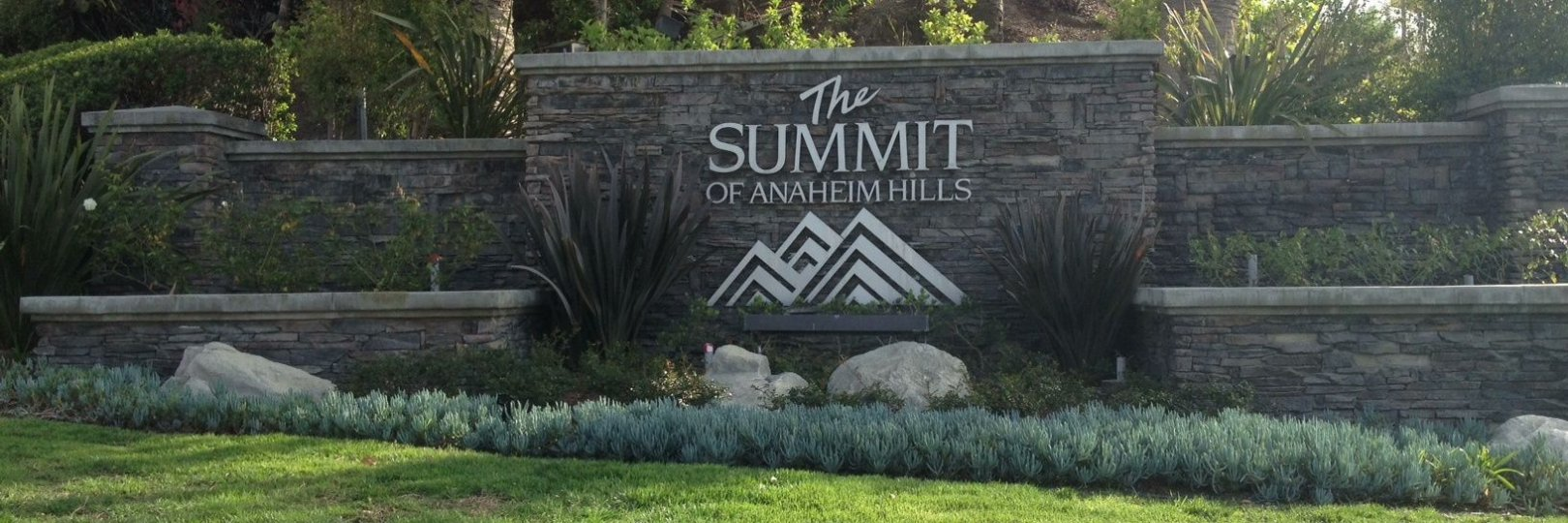 Front entrance and marquee sign for the community of Summit Springs Anaheim Hills CA