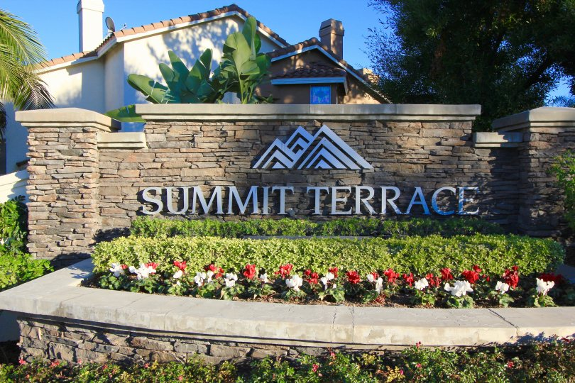 Front entrance and marquee sign for the community of Summit Terrace Anaheim Hills CA