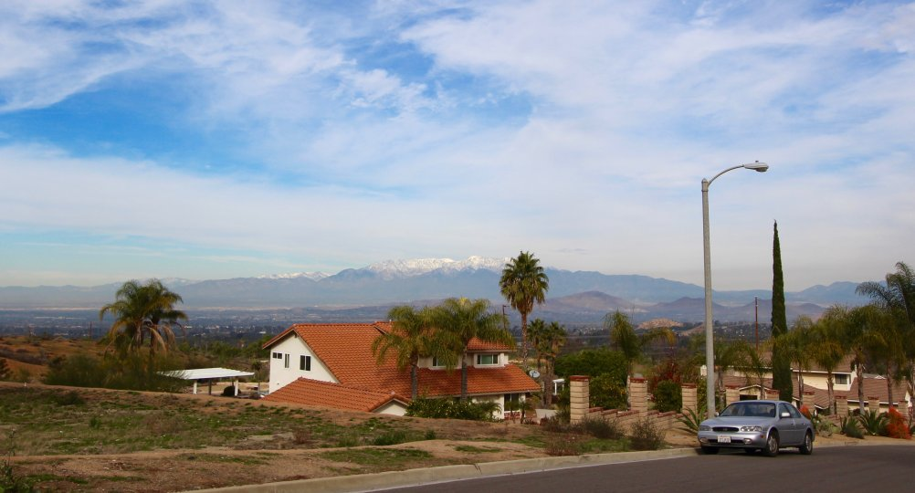 Snow capped mountains provide a wonderful backdrop to the Woodcrest neighborhood