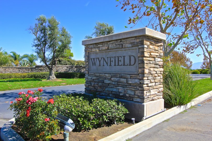 Stone column entrance to Wynfield Estates in Murrieta