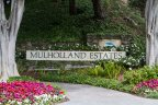 The sign for the exclusive Mulholland Estates in Beverly Hills California