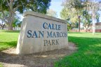 The sign for Calle San Marcos Park in Rolling Ridge
