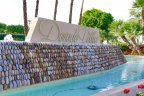 A lovely water feature at the Dorado Villas sign makes the entrance to this Indian Wells community truly unique