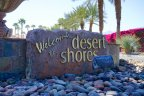 The sign for the Desert Shores neighborhood of Indio Ca
