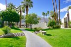 A walkway separates homes at Biltmore in Palm Springs