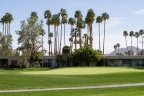 A well manicured green on the golf course at Seven Lakes Country Club in Palm Springs Ca