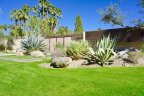 The front yard landscaping at this home within Vista Las Palmas is impeccably well manicured