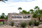 A sign for Mission Hills Lakefront in Rancho Mirage Ca