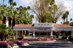 The private guard gated entrance to Rancho Las Palmas in Rancho Mirage Ca