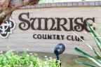 The sign at the entrance of Sunrise Country Club in Rancho Mirage