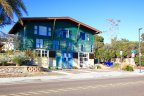 A colorful building at Esperia and Carmel Valley crossing in Del Mal Terrace