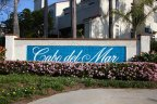 The Cabo Del Mar entry marquee is made of blue tile with white lettering