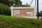 The wood marquee for Huntington Creek is lettered in red