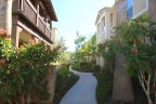 Heavily landscaped walkways lead to the front doors of these Pacific Shores homes