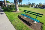 A bench sits on the grass between the tennis court and walking path at Village Townhomes