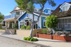closeup of custom home exterior in Balboa Island, Newport Beach CA
