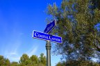 Coastal Canyon and Vista Ridge street signs in Coastal Canyon Newport Coast