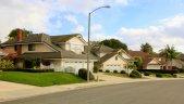 View looking up the street toward homes in Stratford Ridge, Laguna Hills CA