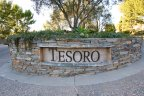 Sign and marquee at entrance to Tesoro Villas Newport Coast CA
