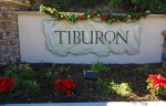 Well lit sign at the entrance of Tiburon