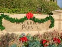 Christmas decorations on the Waterford Pointe sign