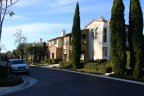 Exterior front to Italian style townhomes in Ziani Newport Coast CA